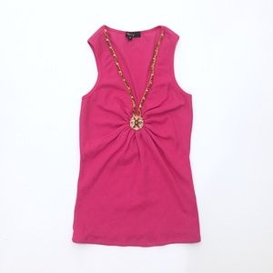 Sky Hot Pink Ribbed Jeweled Tank Top